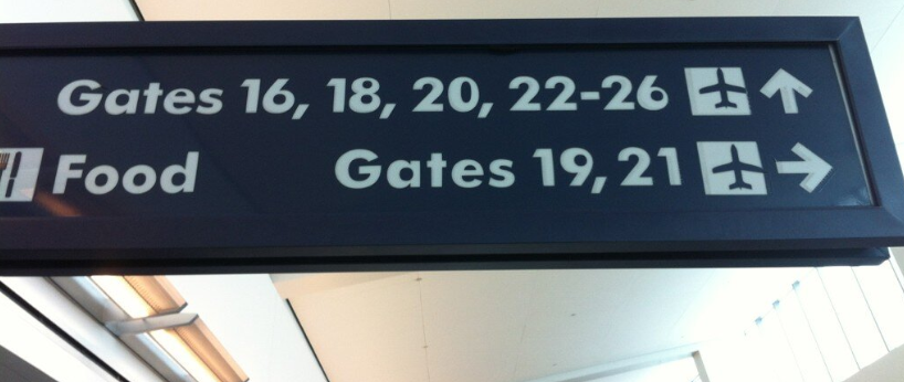 Not so geometric sans on airport sign